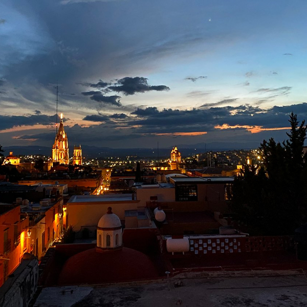 san miguel de allende at night from a rooftop